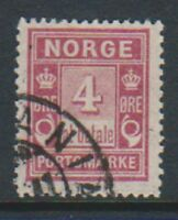 Norway - 1904, 4 ore Claret Postage Due stamp - G/U - SG D96