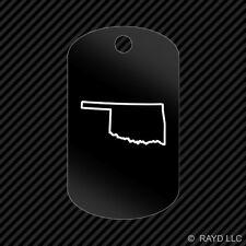Oklahoma Outline Keychain GI dog tag engraved many colors  OK
