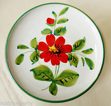 VTG hand painted Red Flower green edge decorative wall plates signed Italy 7.5""