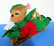 """Annalee Doll 6""""  Snow Fun Toboggan Mouse New Tags Hand Painted 2019 Figurine"""