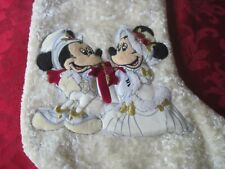 Disney Mickey Minnie Mouse Christmas Victorian Stocking Large Gold Thread Heads