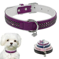 Bling Rhinestone Dog Leather Collar With Heart Pendant Tag for Small Medium Dogs