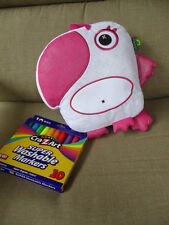 """The Bridge Direct Inkoos Pink/White Parrot Plush Stuffed  8""""x9.5 New 10 Markers"""