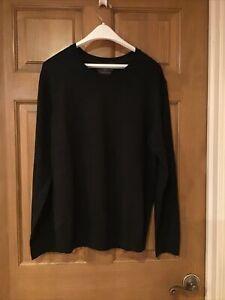 NWT Black/Brown 1826 Men's Merino Wool Sweater, XL, CHARCOAL-Black