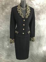 BEAUTIFUL St John evening jacket knit black paillettes suit blazer size 12
