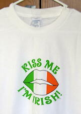 New Novelty Graphic SS Tee Shirt! Kiss Me I'm Irish white - Size Large