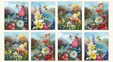 """23"""" Fabric Panel - Elizabeth's Studio Hummingbird Bouquet Garden Flower Scenes"""