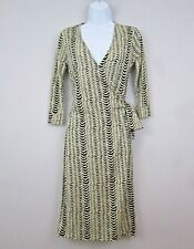 FRENCH CONNECTION Wrap Dress 12 Animal Print Off White & Black Silk Wool Blend