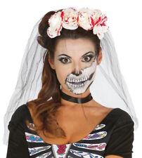 Giorno dei Morti Zucchero Teschio INSANGUINATO ROSE Cerchietto VELO Halloween Fancy Dress
