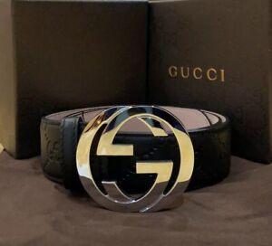 Gucci Black Signature Leather Belt 90 cm, fits 30-32 waist New In Box w/tag's