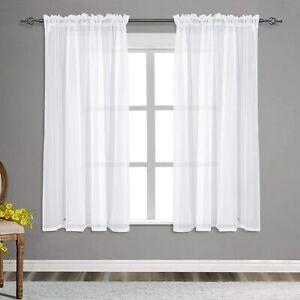 "BUHUA Ivory Semi Sheer Curtains Voile Window Treatments Panels 55 x 54"" Set Of 2"