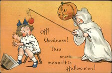 Halloween TUCK #188 Boy in Ghost Costume Teasing Little Girl c1910 Postcard