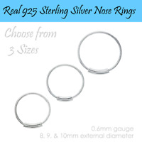Small Real 925 Sterling Silver Nose Rings  Split ring Tube 8mm 9mm 10mm For UK