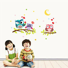 Lovely Owl Cartoon Removable Wall Stickers For Kids Rooms Home Decor Waterproof