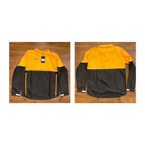 NIKE Lightweight Coaches Pullover Windbreaker Black & Yellow Jacket Men Medium