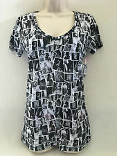 VICTORIA'S SECRET SUPER MODEL ESSENTIALS T-SHIRT BLACK/ WHITE MEDIUM  NWT