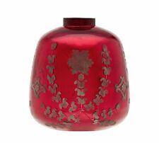NEW Pottery Barn Sienna Etched Red Mercury Vase Home Decor Tabletop Floral Glass