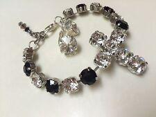 Swarovski Crystal Elements Black White Cross Cup Chain Bracelet     Jewelry