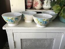 222 FIFTH STUNNING NEW 4 FLORAL BOWLS   BIJOU BLUE VERY SHABBY CHIC ROSES