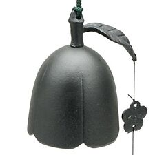 """Japanese 3.5""""D Furin Wind Chime Cast Iron Iwachu Black Plum Bell, Made in Japan"""