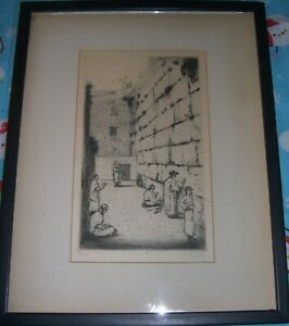 Wailing Wall Etching Jerusalem, Jacob Eisenberg Listed Artist