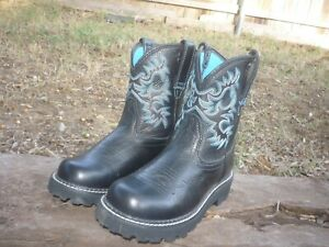 Women's 6 B M Ariat FatBaby Black Deertan Round Toe Western Cowboy Boots 14788