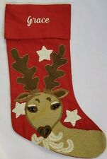New Pottery Barn Monogram Grace Crewel Reindeer Christmas Stocking