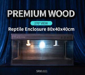 Premium Wooden Reptile Enclosure, Reptile Tank Vivarium, E27 Socket 80x40x40cm