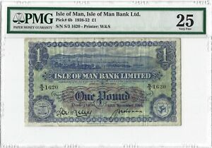 ISLE OF MAN 1 Pound 1950 P-6b M281 Bank Limited, PMG 25 VF, 100% Orig. S/3 1620