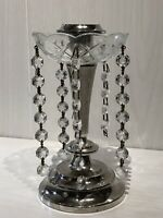 Vintage Silver Plate & Glass Lustre Candle Holder Candle Stick