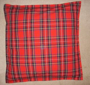 """Christmas TARTAN Cushion Cover Decoration RED 16x16"""" made in the UK 100% cotton"""