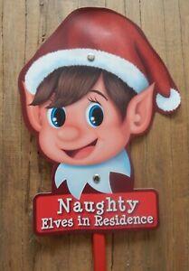 Garden stake NAUGHTY ELVES IN RESIDENCE Christmas fun decoration UK SELLER