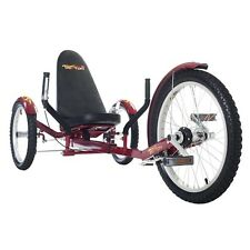 "Mobo TriTon 20"" 3 WHEEL Tricycle RECUMBENT Trike Bike Red TRI-501R"