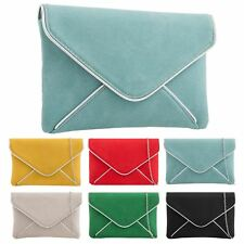 New Ladies Synthetic Suede Envelope Style Evening Prom Clutch Bag Purse