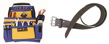 Multi Pocket Contractors Tool Pouch Bag + Leather Waist Tool Belt