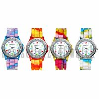 Fashion Rainbow Jelly Silicone Rhinestone Quartz Wrist Watch Girls Ladies Womens