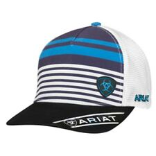 Ariat Mens Baseball Hat Cap Snapback Striped Logo Blue Mesh Back 1501227