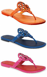 NIB Tory Burch Miller Leather Sandal Nautical Blue Imperial Pink Poppy Red 6-8.5