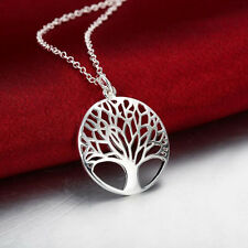 Sliver Plated Pendant Chain Necklace Tree of Life Design Jewelry Decoration