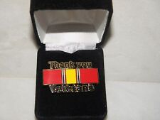 """THANK YOU VETERANS"" PIN NATIONAL DEFENSE RIBBON ARMY NAVY AIR FORCE MARINE"