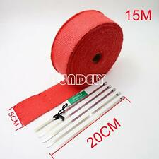 Red Exhaust Header Heat Pipe Wrap Tape Turbo 15m x 50mm + 5 Ties Motorcycle