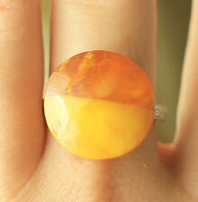 Antique Yellow Natural Baltic Amber Silver Ring Round form size 10 US