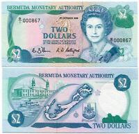 BERMUDA 2 DOLLARS 1-10-1988 P 34 QE II UNC