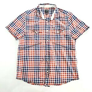 ARMANI EXCHANGE Mens Check Short Sleeve Casual Shirt Size Large