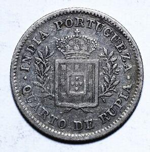 1881, India Portuguese, Quarto de Rupia, Luiz I, VF, Silver, KM# 310 [Lot 1507]