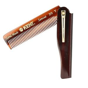 Kent 20T 100mm Fine Toothed Mens Folding Pocket Hair Comb