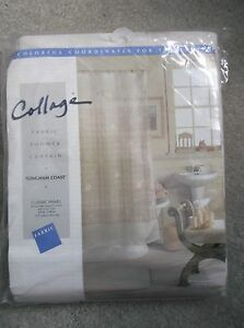 """NEW Collage Fabric Shower Curtain Tan Gingham Coast Beach Lace 69x69"""" MSRP$45"""