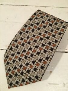 Vintage Michelsons Made in England 1970s Retro Brown & Cream Geometric Tie