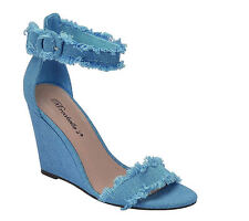 Womens Denim Blue Frayed Buckle Ankle Strap Wedge High Heel Open Toe Pump Sandal