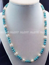 Natural 8-9mm White Freshwater Pearl & 10mm Blue Turquoise Gems Necklace 18-36''